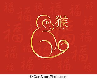 Chinese New Year Monkey on Red Background Illustration -...