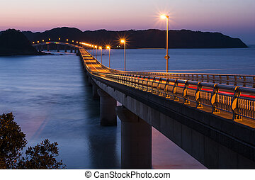 Light up bridge - Orange light up Tsunoshima Ohashi bridge...