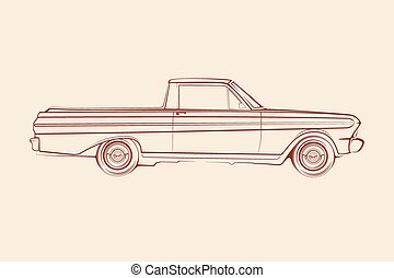 American muscle car pickup silhouet