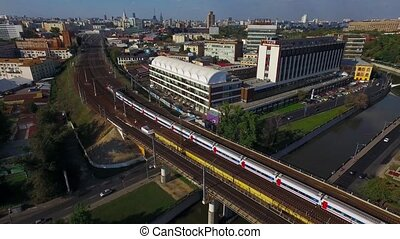 Train, passing the bridge in Moscow - Aerial view at the...