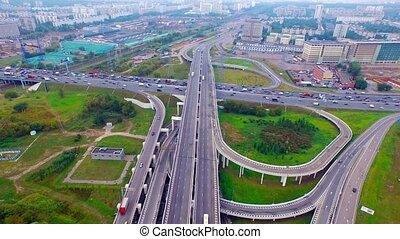Moscow Ring Road (MKAD) - Aerial fly above complex...