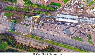 Technopark metro station in Moscow - Vertical aerial view of...