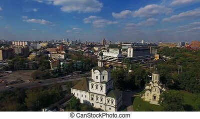 Moscow Andronikov Monastery - Scenic aerial fly above Moscow...