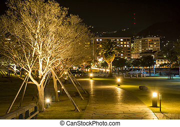 Trees and walkway - Lined trees and walkway in Nagasaki at...