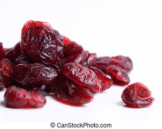 Dried cranberries - Macro of dried cranberries on a white...