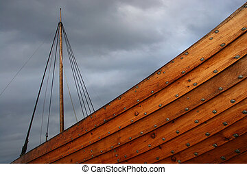 Viking ship caught in a stormy weather