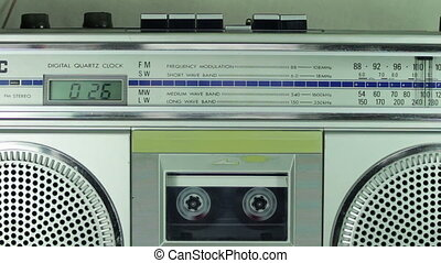 Vintage Cassette Player - Vintage tape recorder plays the...