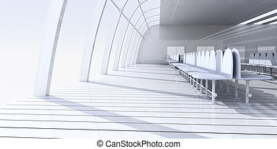 Airport Hallway - 3D rendered Illustration.