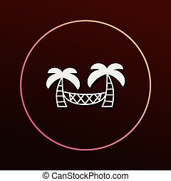Coconut tree hammock icon