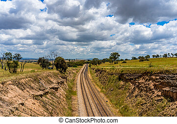 Railway track in outback Australia - Railway track through...