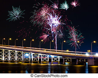 Macau-Taipa Bridge and fireworks - Many fireworks over...