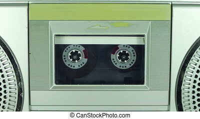 Tape Recorder Playing with Silver Cassette - Vintage tape...