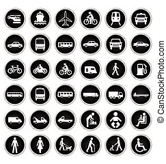 Transport and people Icon collectio - Black and white...