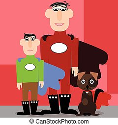 Father, son and a dog as superhero - Vector illustrated...