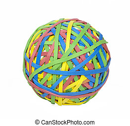 Ball of Rubber Bands - Multi-colored ball of rubber bands
