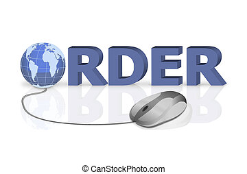 mouse click to order 3D word with globe incorporated