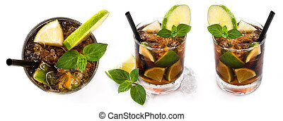 Longdrinks Cuba Libre isolated on white background as high...