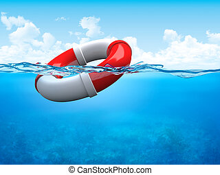 Help! Ring-buoy underwater - 3d illustrations concepts...