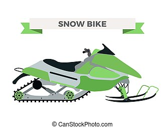 Vector winter snow motorcycle illustration Snowmobile...
