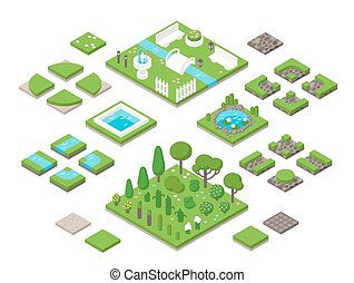 Landscaping isometric 3d garden design elements Landscaping...