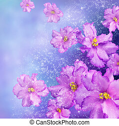 Celebratory background with violets and shining stars