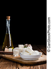Pieces of fresh feta cheese - Pieces of fresh cutted feta...