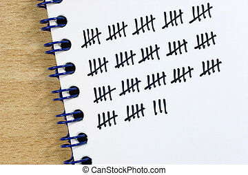 tally - When counting a tally sheet is often very useful.