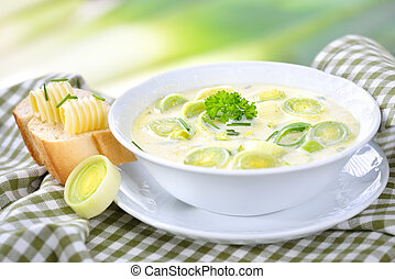 Cheese and leek soup - Creamy vegetarian cheese and leek...