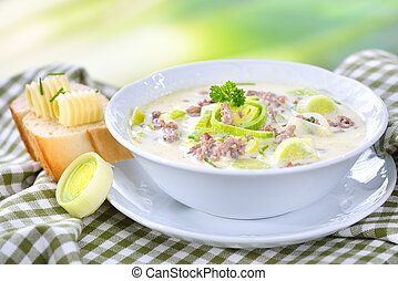 Cheese and leek soup with meat - Creamy cheese and leek soup...
