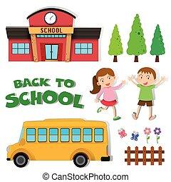 escuela, espalda, niños