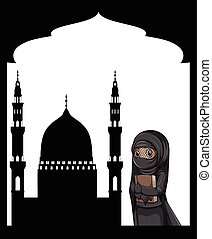 Muslim girl and sillhouette mosque background illustration