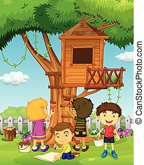 Children painting treehouse in the park illustration