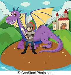 Knight and dragon on island