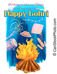 Happy Lohri background - illustration of Happy Lohri...