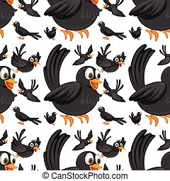 Seamless black birds flying illustration