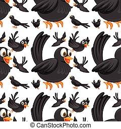 Seamless black birds flying illustration