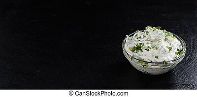 Herb Curd - Bowl with fresh made Herb Curd (detailed...