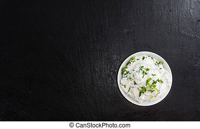 Bowl with Herb Curd - Bowl with fresh made Herb Curd...