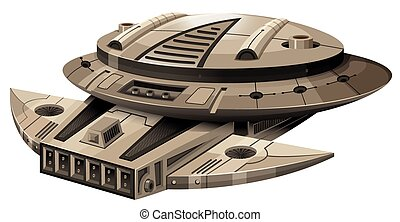 Moder spaceship on white illustration