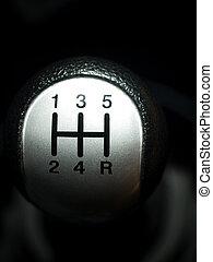 Manual car gear shift - Closeup of a manual European car...