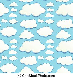 Seamless clouds in blue sky illustration