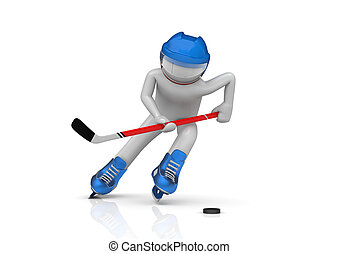 Hockey player close-up - 3d isolated characters on white...