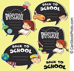 escuela, niños, espalda, señal