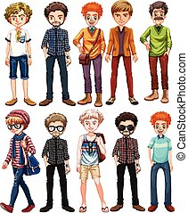Men in different outfit illustration