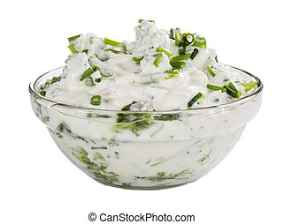 Herb Curd isolated on white - Bowl with fresh made Herb Curd...