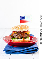 American cuisine - American mini beef burgers with cheese...