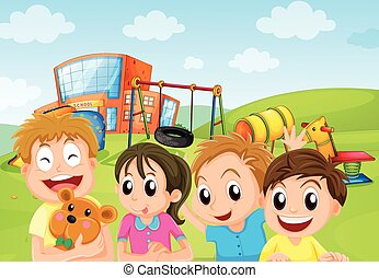 Boys and girl in the playground illustration