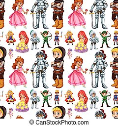 Seamless fairytales characters with prince and princess...