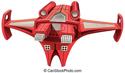 Red spaceship with engine on top