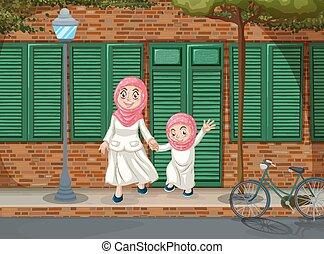 Muslim girls on the sidewalk